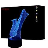 3D Sax Night Light Lamp 7 cambiamento di colore LED USB touch Table Gift Kids Toys Decor decorazioni di Natale ...