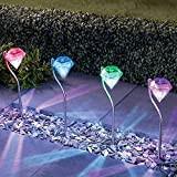 4Pezzi Lampade Solari da Esterno Giardino Colorate Decorative Colore Che Cambia Impermeabile la Luci Solari con a Forma di Diamante ...