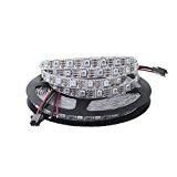 ALITOVE 16.4ft WS2812B Individually Addressable RGB LED Flexible Strip Light 5m 300 Pixels 5050 SMD DC5V White PCB Not Waterproof ...