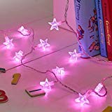Filo di 30 stelle rosa illuminate a LED di Lights4fun