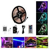 Guaiboshi Striscia LED 5m Light Strip Impermeabile 5050 RGB LED Catena di luci IR telecomando con colori a scelta 12 ...