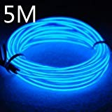 Lychee Portable Battery Pack Neon Glowing Strobing Electro Luminescent El Wire Light With 3 Modes (5m 15ft, blu)