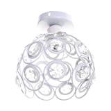 Plafoniera in Cristallo Moderno Lampadario in Cristallo Luce Lüster Lampadario 60W E27 per corridoio portico camera da letto (Bianca)