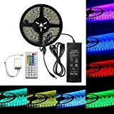 Super Night RGB Kit illuminazione LED Strips Lights flessibile 5050 SMD 32.8 ft 10 m 600leds Waterproof 24 V RGB LED Strip, 44 chiave IR ...